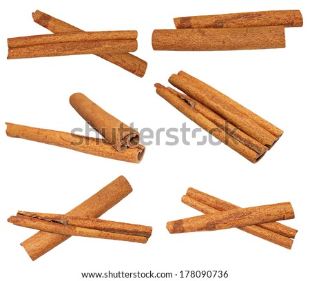 set macro cinnamon sticks isolated on white background, clipping path, (high resolution) - stock photo