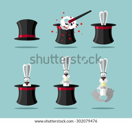 Set magician: wand, Topper and rabbit