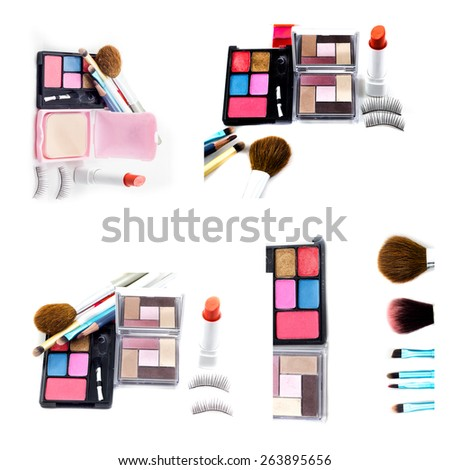 set makeup brush and cosmetics, on a white background - stock photo