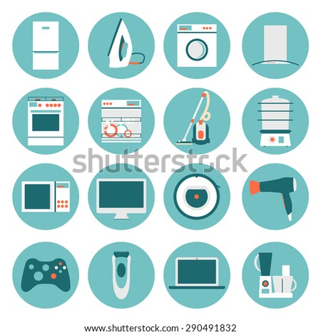 Set Electrical Appliances Minimalistic Icons Stock Vector