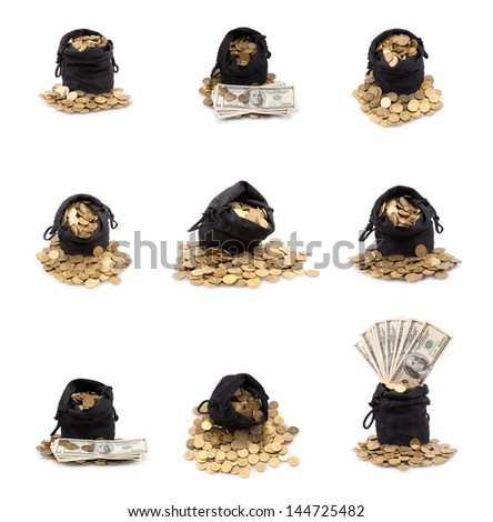 Set of a bag of gold coins isolated on a white background - stock photo