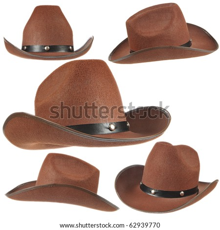 Set of a brown cowboy hats on white background. - stock photo