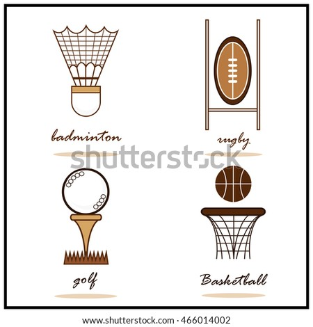 Set of a Illustration shows a Summer Sports. Badminton, Rugby, Golf, Basketball