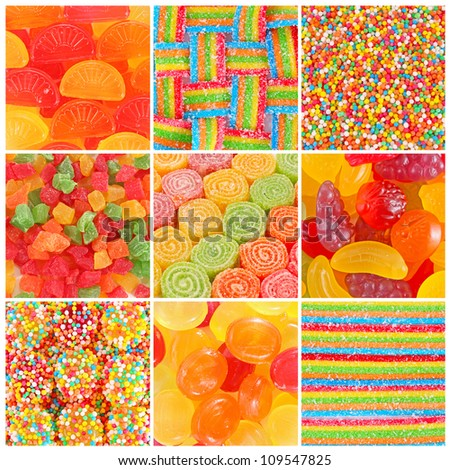 set of A lot of colorful colorful candies for background