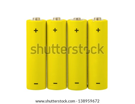 Set of AA batteries on white background - stock photo
