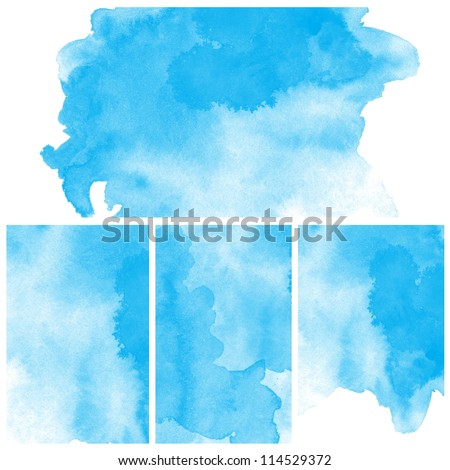 Set of Abstract blue water color art background hand paint - stock photo