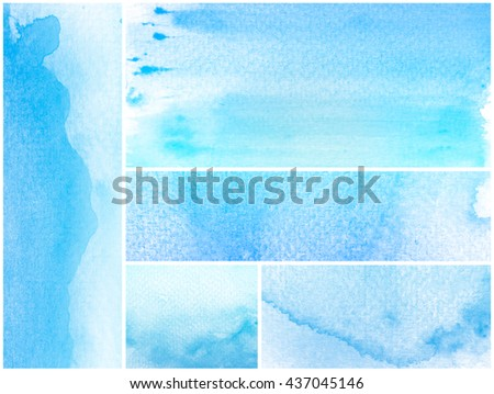Set of abstract blue watercolor on white background.This is colorful watercolor art and this is watercolor stains.