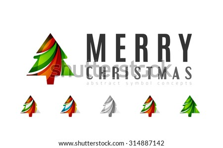 Set of abstract Christmas Tree Icons, business logo concepts, clean modern glossy design. Created with transparent abstract lines - stock photo