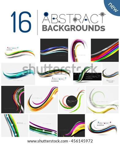Set of abstract color waves, unusual various designs - transparent curves, smooth lines, smoke wave templates, blue red green colors. Universal modern background templates and banner layouts - stock photo