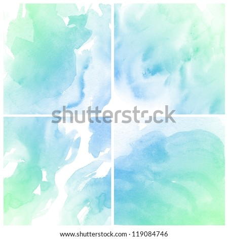 Set of Abstract colorful water color art background hand paint