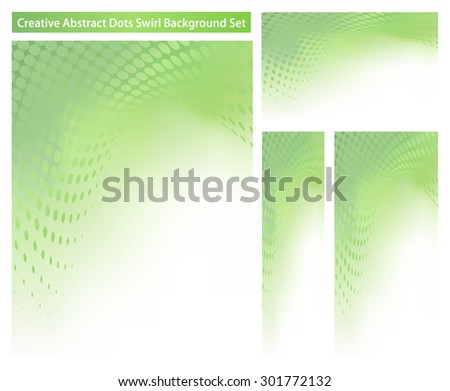 Set of 4 abstract creative .jpg background templates with green dot swirl...See my portfolio for more templates. - stock photo
