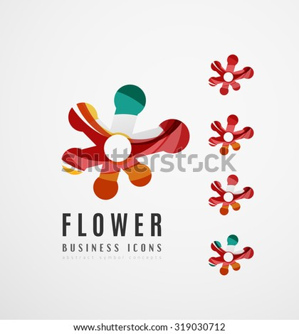 Set Of Abstract Flower Logo Business Icons Created With Overlapping Colorful Waves And Swirl