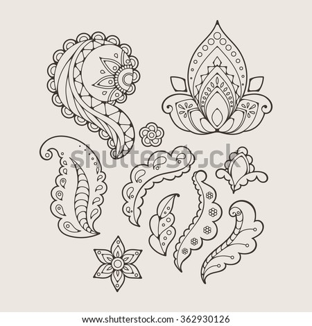 Set of abstract flowers and paisley elements in Indian mehendi style. Template for mehndi ornaments.