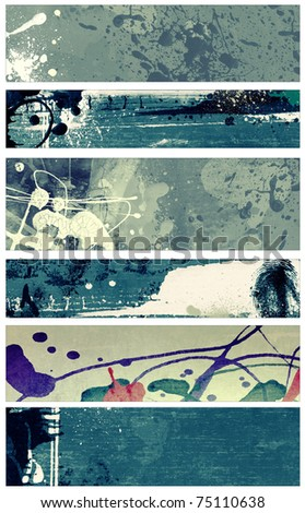 Set of abstract grunge and watercolor banners  isolated on white background. - stock photo