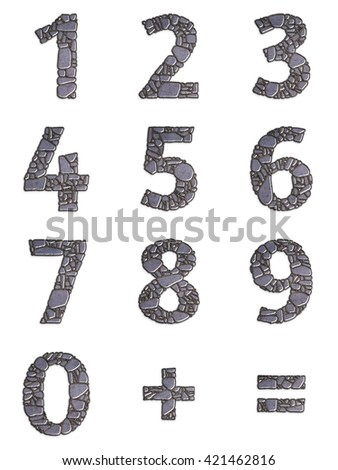 Set of abstract numbers for material design creative project. Decorative numerals with the pattern of stone masonry. Metal round grid with granite stones texture. Arabic numeral, equal sign, plus sign - stock photo