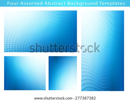 Set of 4 Abstract soft blue dot swirl medical or business background template illustrations with plenty of copy space. - stock photo