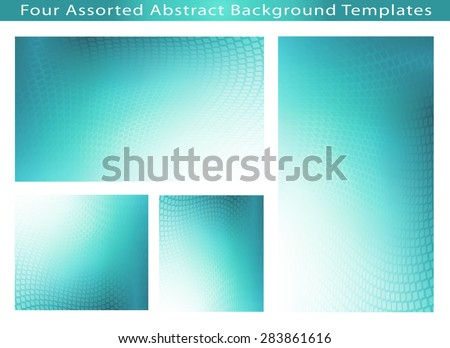 Set of 4 Abstract soft teal dot swirl medical or business background template illustrations with plenty of copy space.  - stock photo