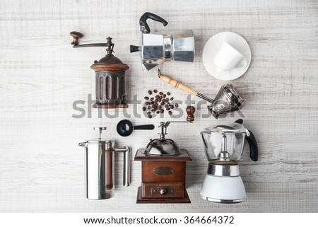 Set of accessories for coffee on the  white wooden table horizontal