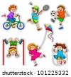 set of active kids (vector format available in my portfolio) - stock vector