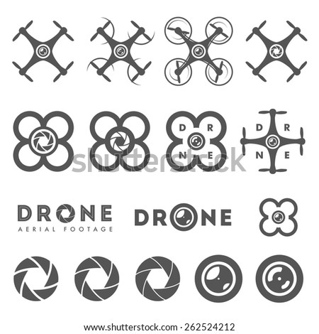 Set of aerial drone footage emblems and icons - stock photo