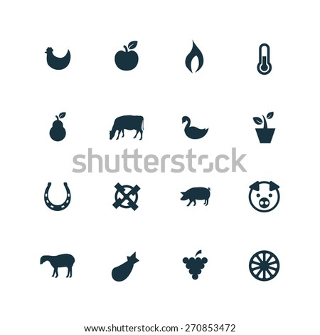 set of agriculture, farm icons on white background  - stock photo