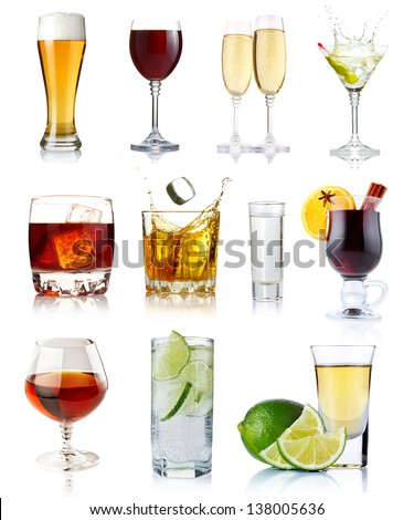 Set of alcohol drinks in glasses isolated on white background - stock photo