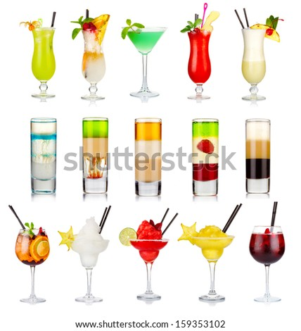 Set of alcoholic cocktails isolated on white background - stock photo