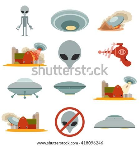Set of alien invasion - stock photo