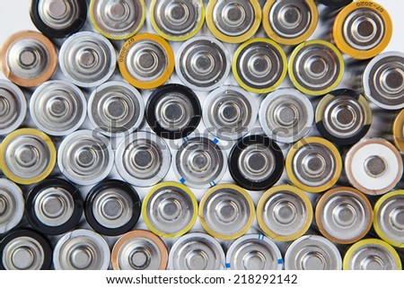 set of alkaline batteries - stock photo