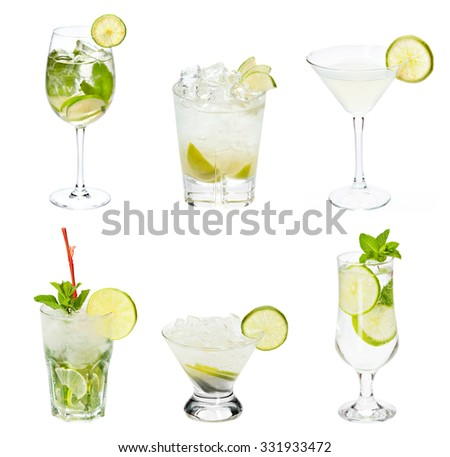 Set of alocohol coctails with lime  isolated on white background - stock photo