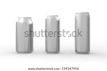 Set of aluminum cans isolated on white with clipping path, packaging for  soft drink, juice, water and beverage  - stock photo