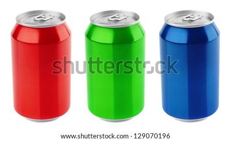 Set of aluminum 330ml cans isolated on white background - stock photo