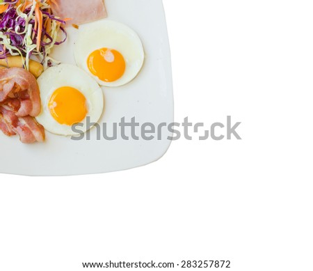 set of american breakfast isolated on white - stock photo