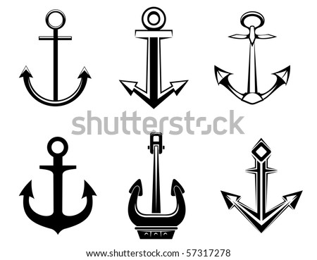 Set of anchor symbols for design - also as emblem or logo template. Vector version also available - stock photo