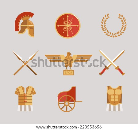 Set of ancient warrior accessories with a helmet  spears  swords  wreath  tunic  breastplate  shield and eagle in red and gold - stock photo