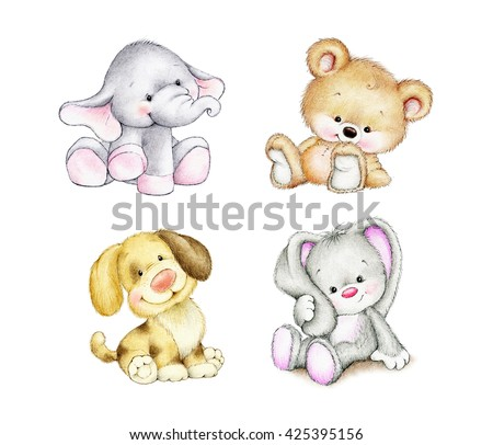 Set of animals - elephant, bunny, bear, dog