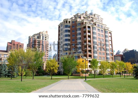 set of 3 apartment buildings in calgary downtown