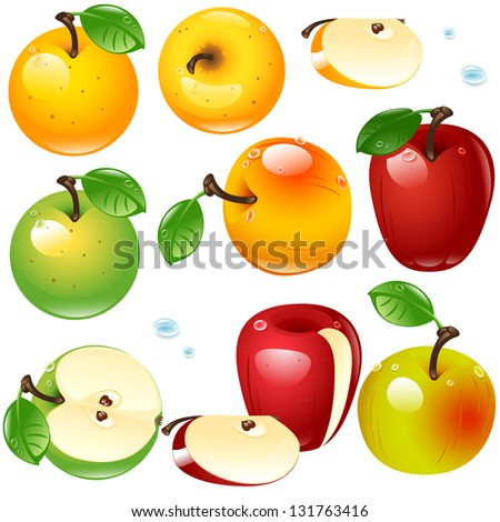 set of apples isolated on a white background. raster version - stock photo