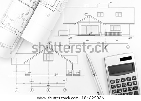 Set of architectural construction documents and floor plans of a residential house - stock photo