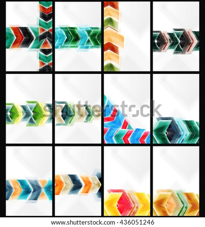 Set of arrow background - web brochures, internet flyers, wallpaper or cover poster designs. Geometric style, colorful realistic glossy arrow shapes, blank templates with copyspace. Directional idea - stock photo