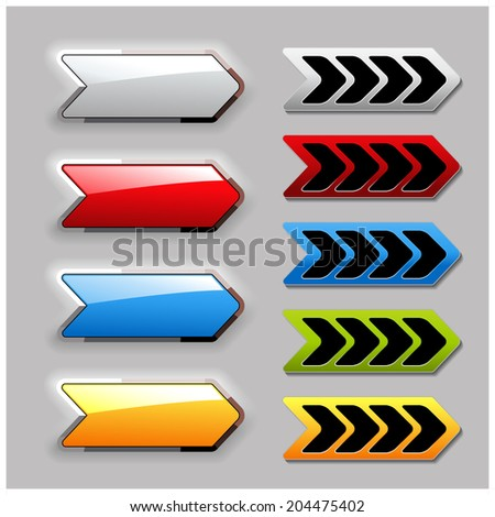 set of arrow buttons, symbol of here, more, next - stock photo