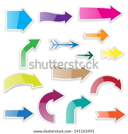 set of arrows with shadows - stock photo