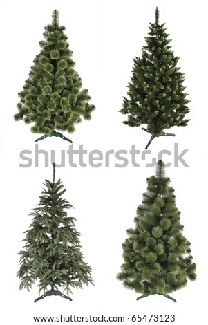 set of artificial christmas tree isolated on white background - stock photo