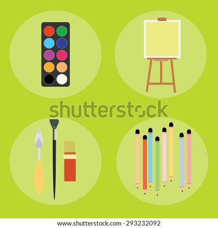 Set of artist pencils paint brush canvas palette knife illustration - stock photo