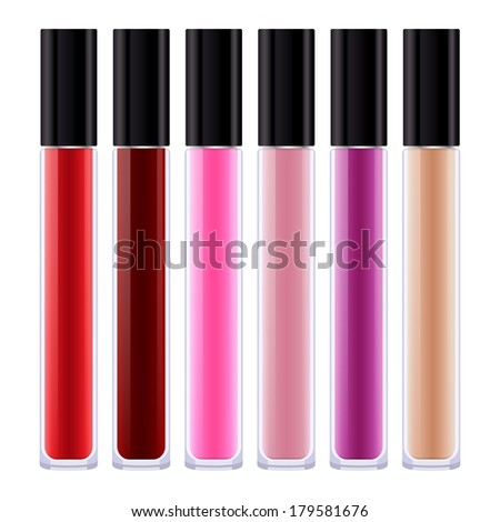 Set of assorted colorful lip gloss tubes. Raster version.