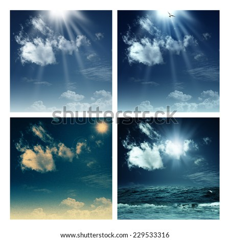 Set of assorted environmental backgrounds for your design - stock photo