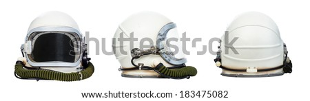 Set of astronaut helmets isolated on a white background.  - stock photo