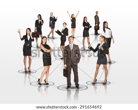 Set of attractive business people looking at camera on isolated white background