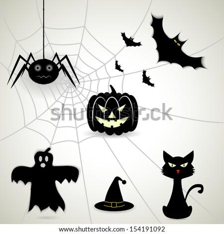 set of attributes Halloween.(rasterized version) - stock photo