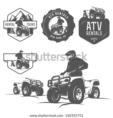 Set of ATV labels, badges and design elements - stock photo